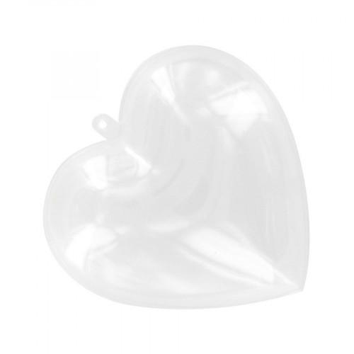 Cœur divisible transparent en plastique - 8,5 x 8,5 cm