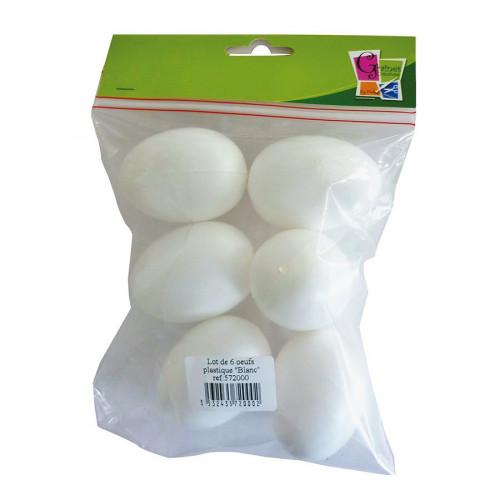 Œufs en plastique - blanc - 6 cm - 6 pcs