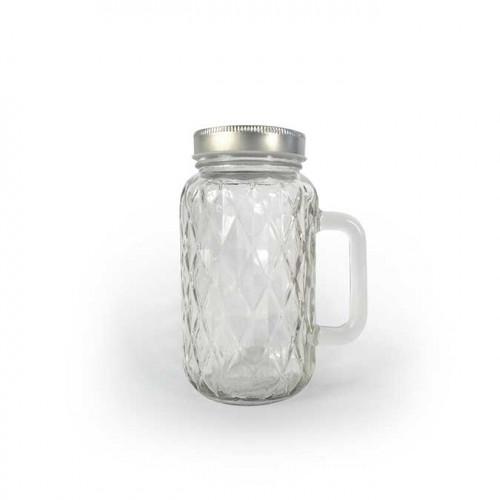 Pot facetté en verre avec poignée - 490 ml