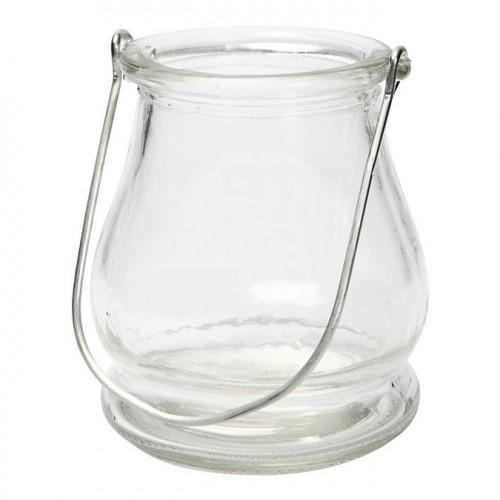 Lanterne ronde en verre avec hanse métal - 10 cm
