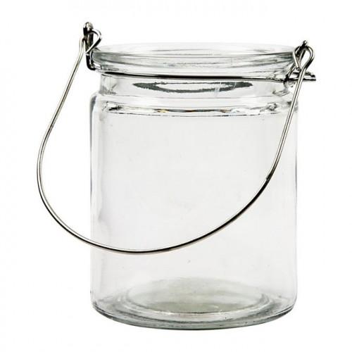 Lanterne en verre avec hanse métal - 10 cm