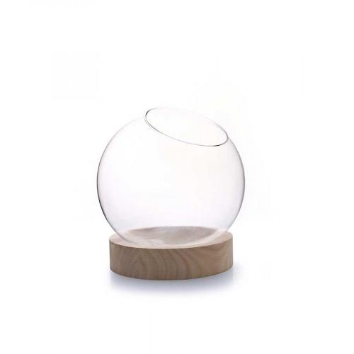 Vase globe en verre avec socle en bois - Ø 13 cm x 14 cm