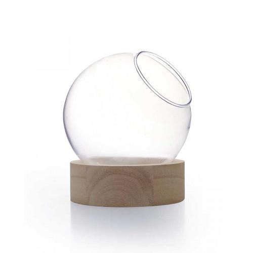 Vase globe en verre avec socle en bois - Ø 10 cm x 11 cm