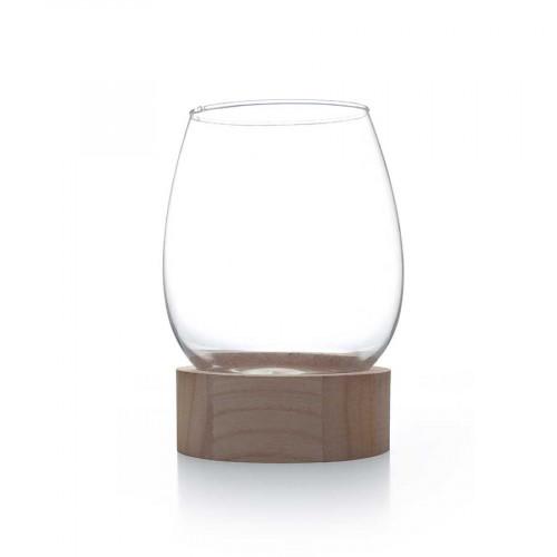 Vase en verre avec socle en bois - Ø 11 cm x 15,5 cm