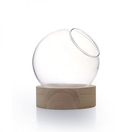 Vase globe en verre avec socle en bois - Ø 20 cm x 21 cm