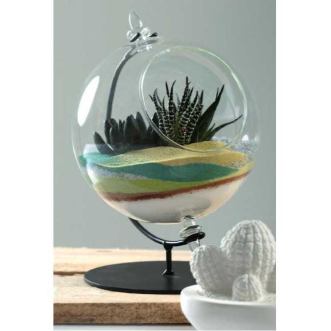 Boule décorative en verre avec support métal - Ø 8 cm