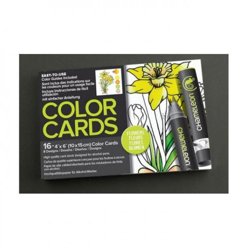 Cartes à colorier 10 x 15 cm Fleurs- 2 x 8 designs