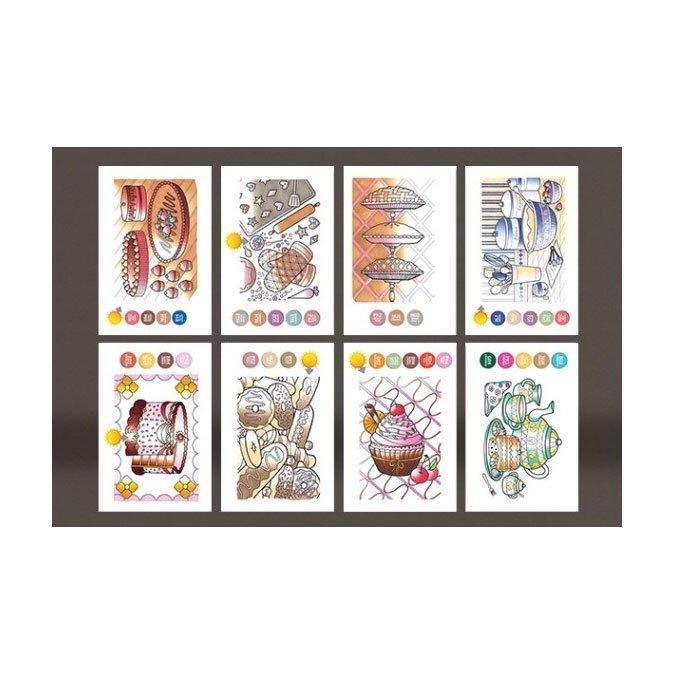 Cartes à colorier 10 x 15 cm Délices sucrés - 2 x 8 designs