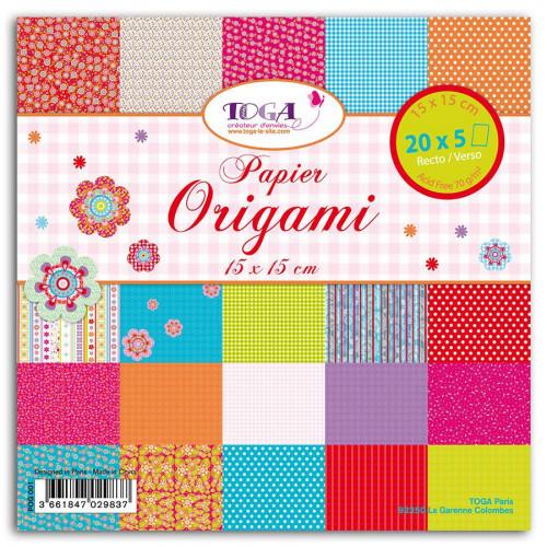Papiers Origami - Bohème - 100 feuilles - 15 x 15 cm