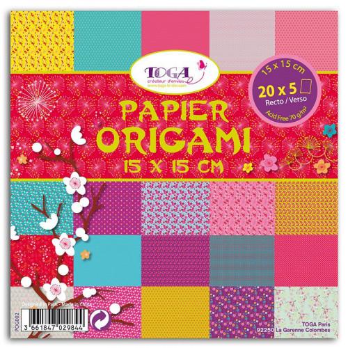 Papiers Origami - Jardin Japonais - 100 feuilles - 15 x 15 cm