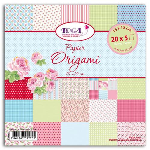 Papiers Origami - Mademoiselle - 100 feuilles - 15 x 15 cm
