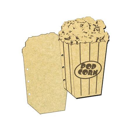 Objet en bois médium - Mini album Pop corn - 20 x 12,7 cm