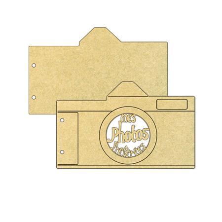 Objet en bois médium - Mini album appareil photo - 20,2 x 12,6 cm