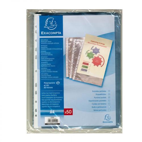 Pochettes transparentes perforées en polypropylène - A4 - 50 pcs