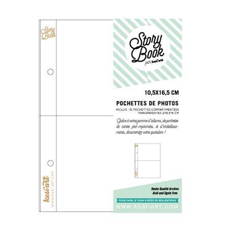 Pochettes photos - 10 pochettes à 2 compartiments - 10,5 x 16,5 cm