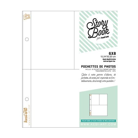 Pochettes photos - 10 pochettes à 3 compartiments - 6 x 8