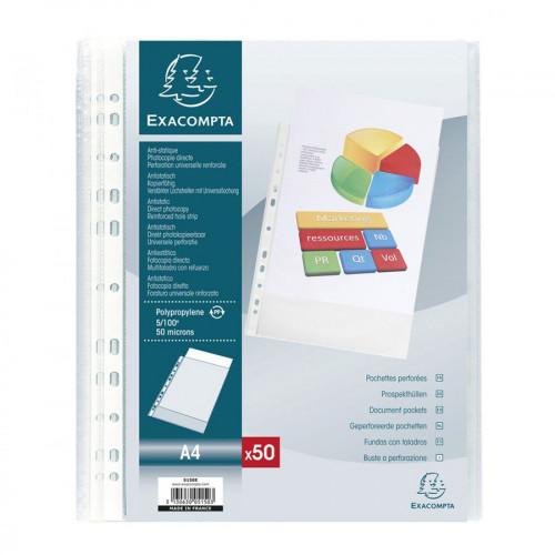 Pochettes perforées en polypropylène - A4 - 50 pcs