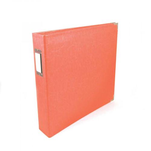 Classic Leather - Album à 3 anneaux 30 x 30 cm - rouge corail