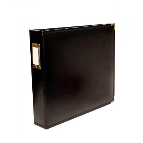 Classic Leather - Album à 3 anneaux 30 x 30 cm - noir