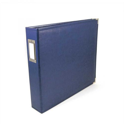 Classic Leather - Album à 3 anneaux 30 x 30 cm - bleu cobalt