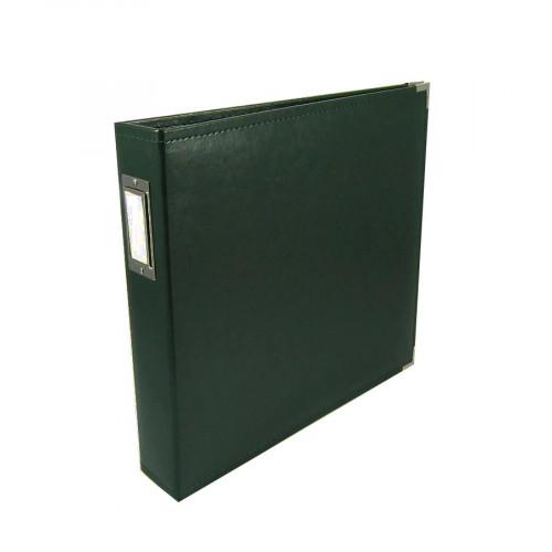 Classic Leather - Album à 3 anneaux 30 x 30 cm - vert forêt
