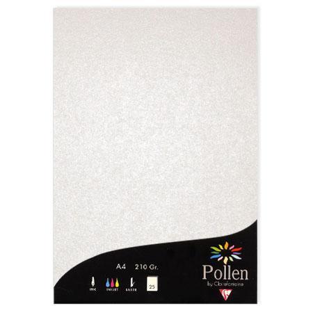 Pollen - 25 feuilles papier A4 210 g - Blanc irisé
