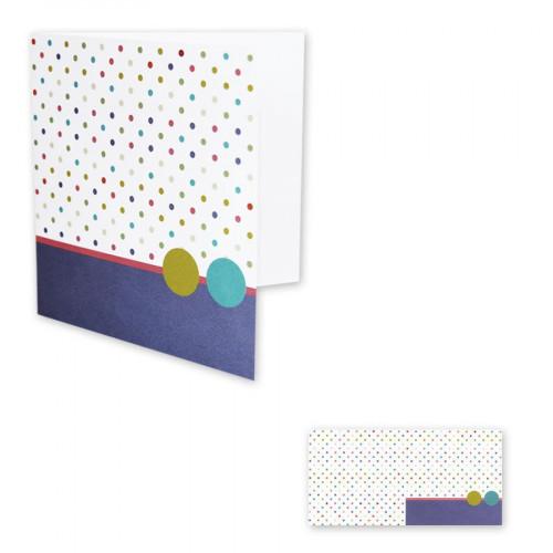 Pollen - 10 cartes doubles carrées 13,5 x 13,5 cm - Blanc pois