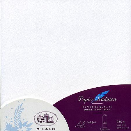 Vélin Tradition - 20 cartes triptyques - Extra blanc