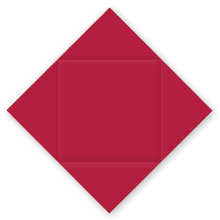 Pollen - 25 cartes carrées à rainage losange 16 x 16 cm - Rouge groseille