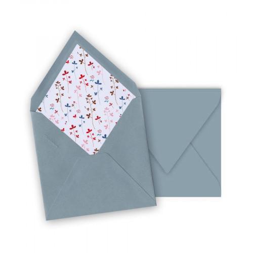 Pollen - 10 enveloppes carrées 14 x 14 cm - Bleu lavande - Intérieur fleurs