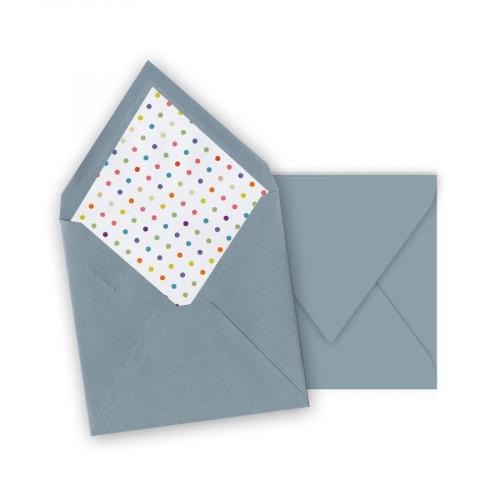 Pollen - 10 enveloppes carrées 14 x 14 cm - Bleu lavande - Intérieur pois