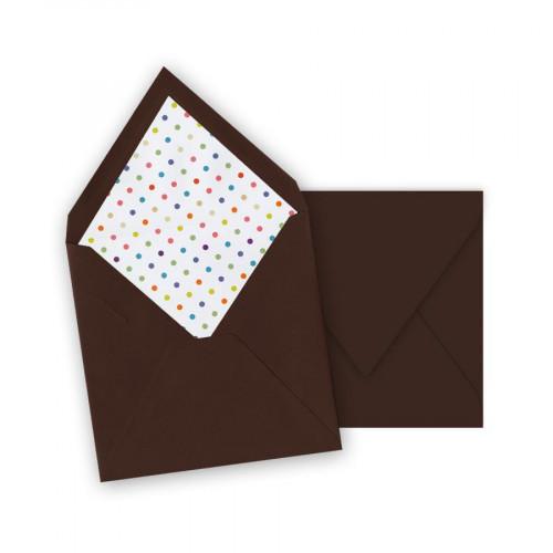 Pollen - 10 enveloppes carrées 14 x 14 cm - Cacao - Intérieur pois