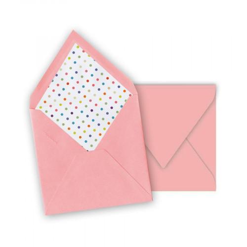 Pollen - 10 enveloppes carrées 14 x 14 cm - Rose dragée - Intérieur pois