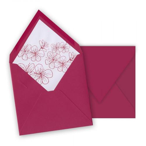 Pollen - 10 enveloppes carrées 16,5 x 16,5 cm - Framboise - Intérieur fleur 3