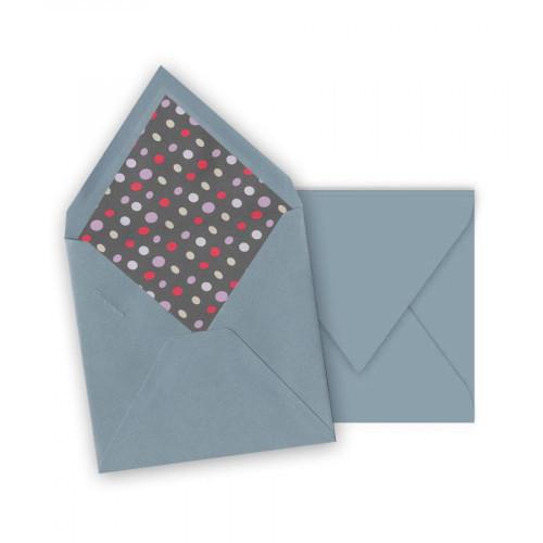 Pollen - 10 enveloppes carrées 14 x 14 cm - Bleu lavande - Intérieur galet