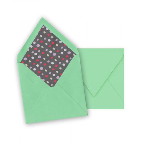 Pollen - 10 enveloppes carrées 14 x 14 cm - Jade - Intérieur galet