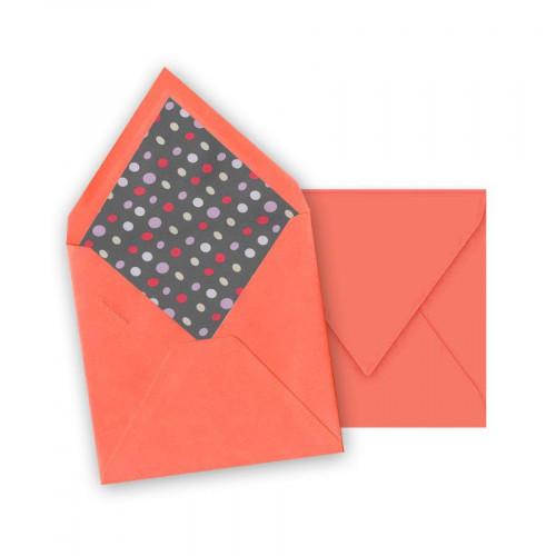 Pollen - 10 enveloppes carrées 14 x 14 cm - Litchi - Intérieur galet