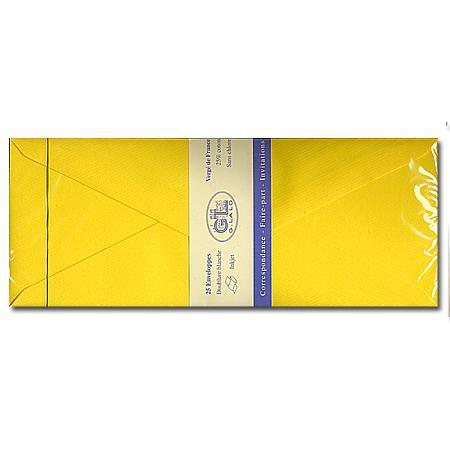 Vergé de France - 25 enveloppes doublées - tournesol