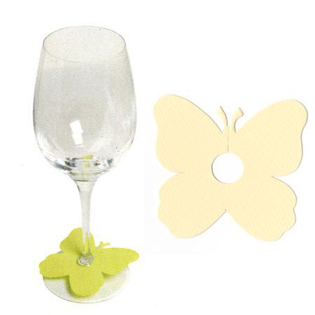 Marque places papillon pied de verre - Coquille d'oeuf