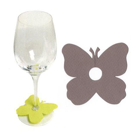 Marque places papillon pied de verre - Taupe