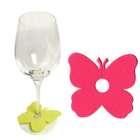 Marque places papillon pied de verre - Fuchsia