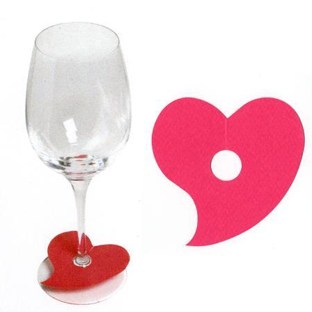 Marque places cœur pied de verre - Fuchsia