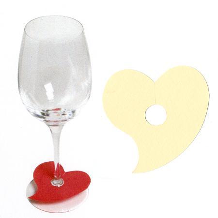 Marque places cœur pied de verre - Coquille d'oeuf