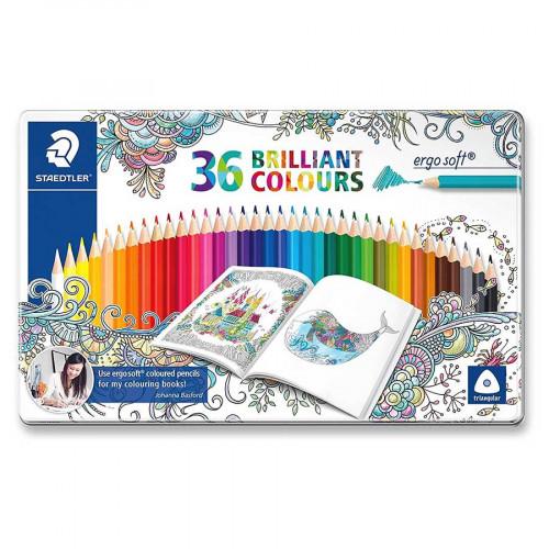Boîte métal de 36 crayons de couleur Ergosoft