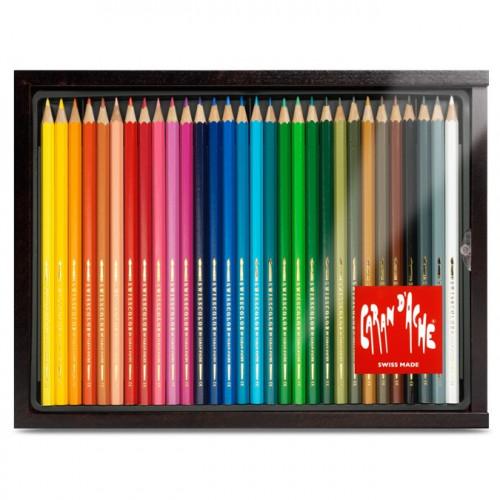 Plumier bois de 30 crayons aquarellables Swisscolor