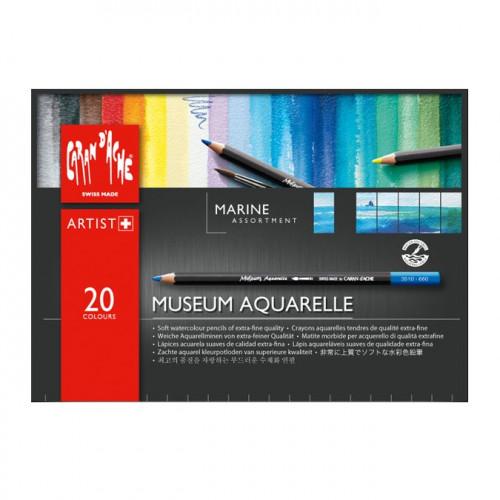 Assortiment de 20 crayons Museum aquarellables - Marine