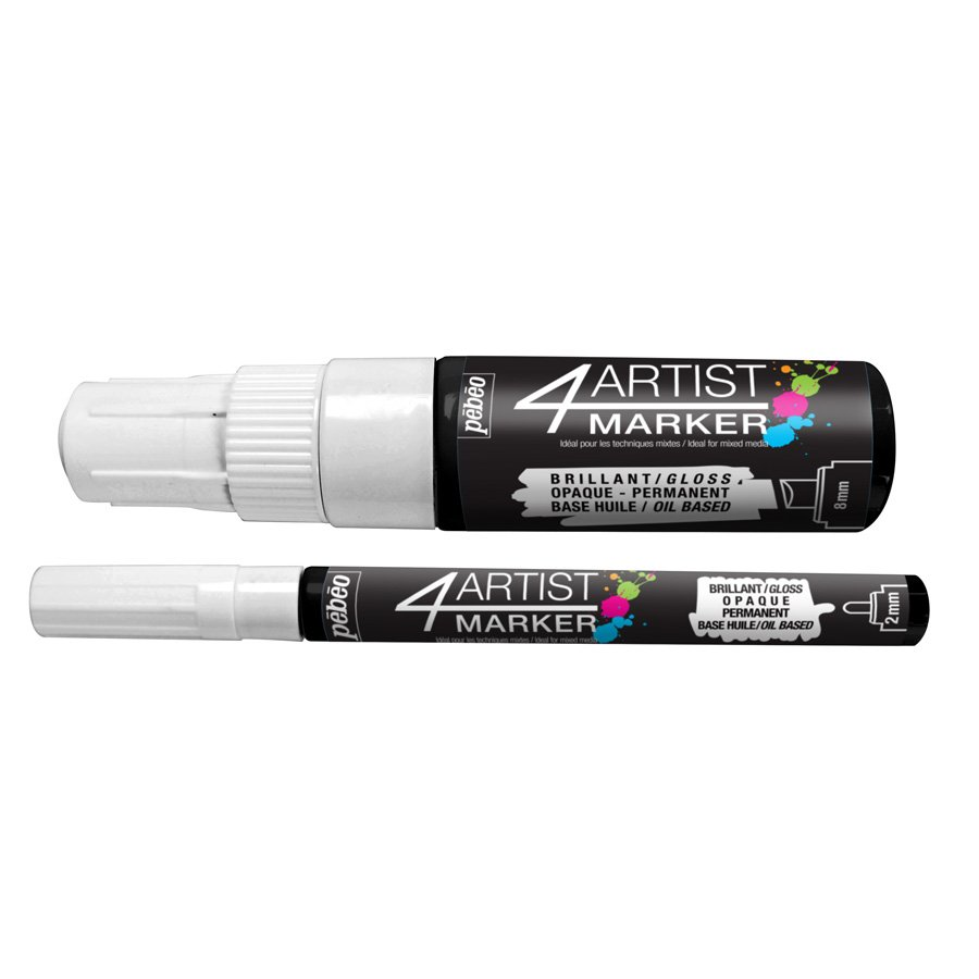 4Artist Marker - Set Duo - 2 mm et 8 mm - blanc