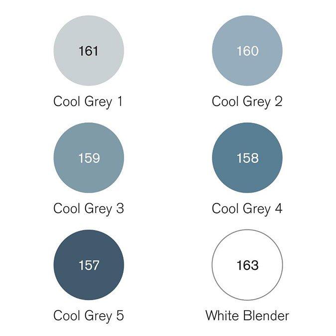 6 feutres Pigment Marker - Tons gris froid