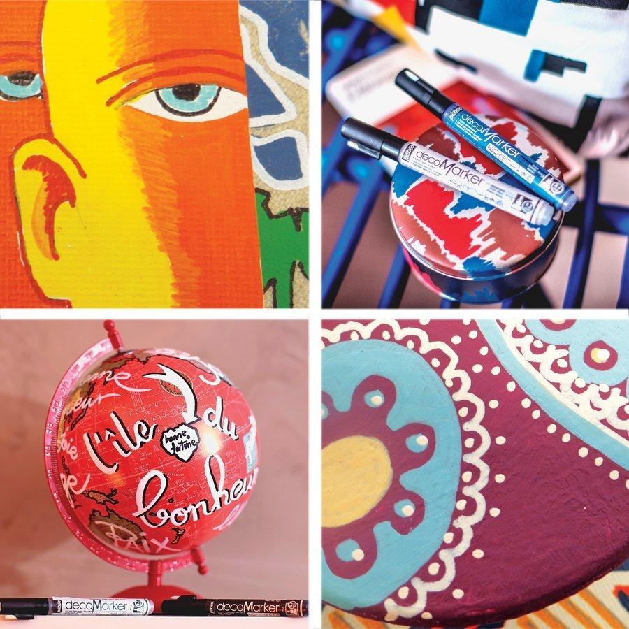 DecoMarker - Feutre peinture pointe biseautée 4 mm - Rouge