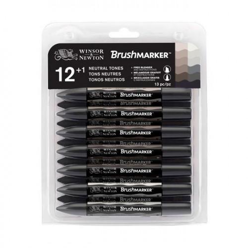 12 marqueurs Brushmarkers + blender - Tons neutres